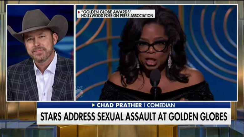 The topic of sexual harassment in show business was front and center at the 75th annual Golden Globe Awards on  Sunday night, but comedian and blogger Chad Prather thinks it's hypocritical for Hollywood elites to speak out now after staying silent for so