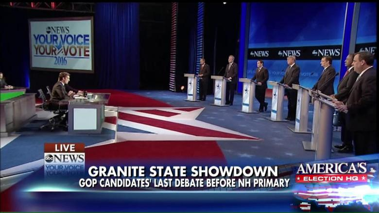 Candidates onstage at ABC News' GOP Debate in New Hampshire on Saturday.