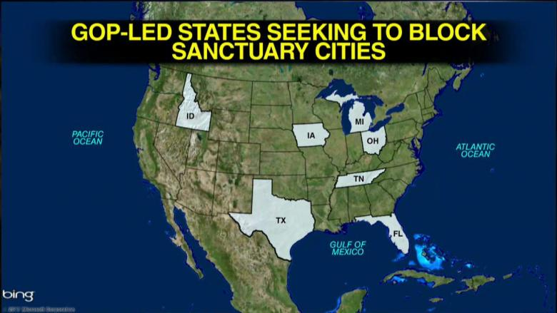Several GOP States Move To Block Their Own Funding To Sanctuary - Us sanctuary cities map