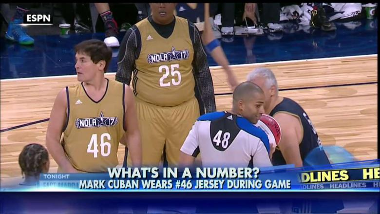 2382a914490 Mark Cuban s No. 46 Jersey at NBA Celeb Game Was Apparent Jab at Trump