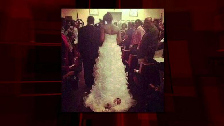 Something New?\' Bride Drags Baby Down Aisle on Wedding Dress Train ...