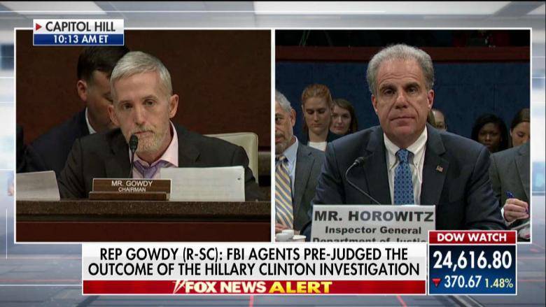 Gowdy Takes Justice Dept IG to Task: Biased FBI Agents 'Prejudged Outcomes' of Clinton & Russia Probes