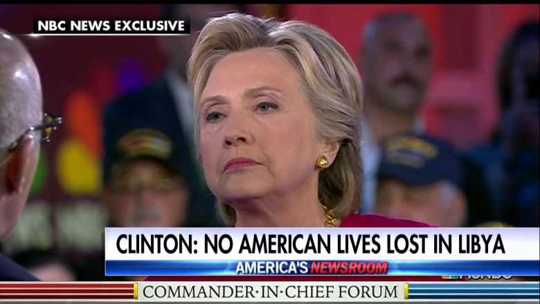 Clinton Under Fire for Saying 'We Did Not Lose a Single American' in Libyan Action