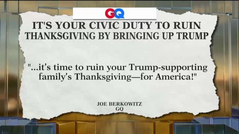 GQ: It's Your 'Civic Duty' to Ruin Thanksgiving for Your Trump-Supporting Family Members