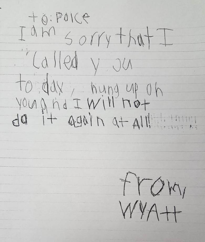 Little Boy Mistakenly Calls 911 Writes Adorable Apology Letter to