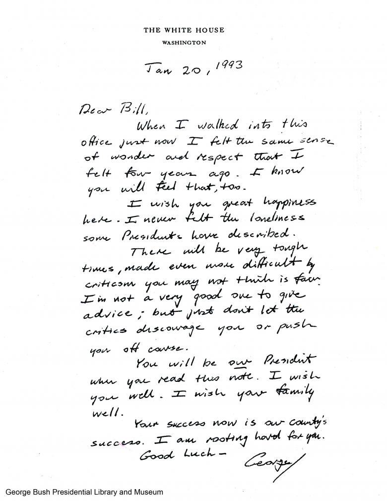 Bush 41 s 1993 Letter to Clinton Goes Viral After Trump s Debate