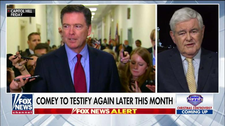 'A Really Sad Commentary': Gingrich Blasts 'Patently Fraudulent' Comey After Testimony