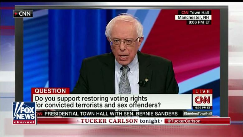 'Utter Lunacy': Tucker, Piers Morgan on Bernie Backing Voting Rights for Felons, Boston Bomber