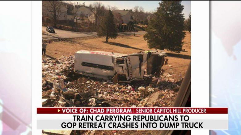 Train carrying Republicans to policy retreat strikes truck