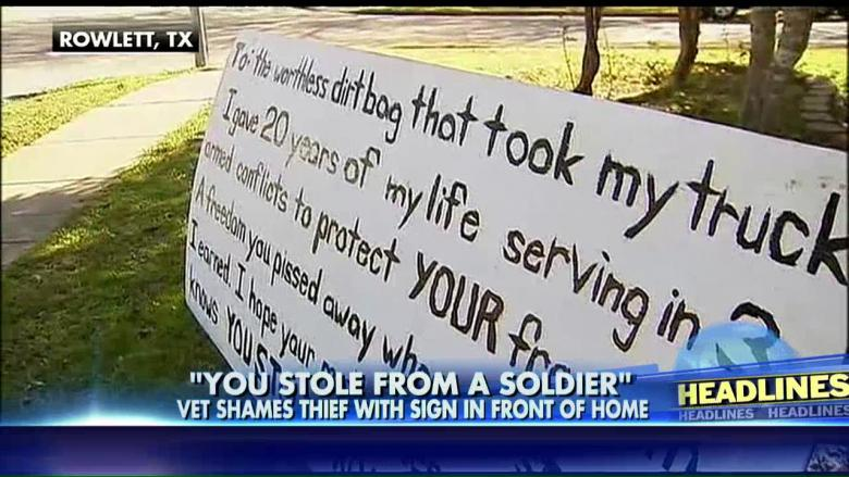 Veteran slams truck thief with sign outside Texas home