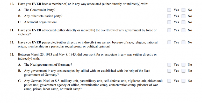 Us Visa Forms Dont Ask About Isis Support But Question Nazi