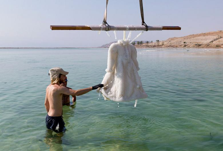 An Artist Soaked a Dress in the Dead Sea for 2 Months and the Results Are Stunning