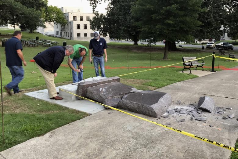 Film studio donates $25K to replace Arkansas Ten Commandments tribute monument