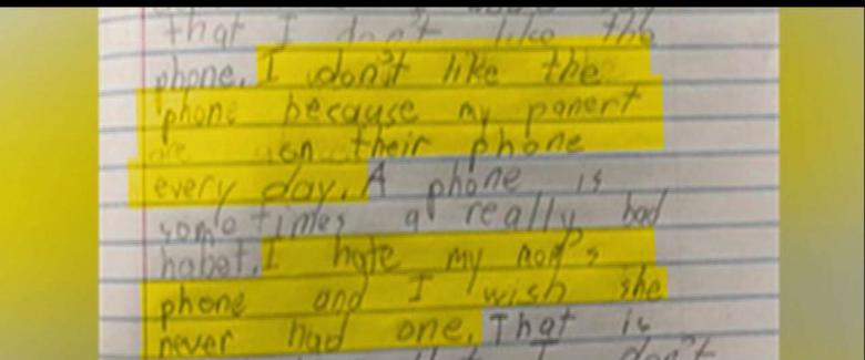 A Louisiana second-grader's homework assignment is going viral and making adults across the nation question if they spend too much time on their cell phones.