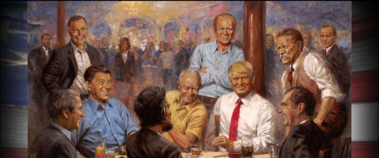 Artist Explains Inspiration Behind Painting of Trump With Past Republican Presidents