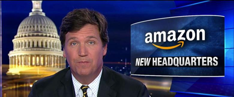 Tucker Carlson invited a tech entrepreneur on his program Thursday night to discuss Amazon getting large tax breaks after the company announced it would build half of its HQ2 site in the New York City borough of Queens.